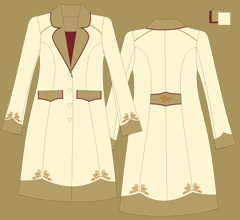 Vlněný kabát  - Slonová kost, 2 x cappuccino a bordeaux