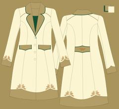 Vlněný kabát - Slonová kost, 2x cappuccino a zelená