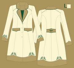 Vlněný kabát - Slonová kost, cappuccino a zelená