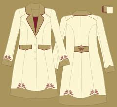 Vlněný kabát - Slonová kost, cappuccino, bordeaux