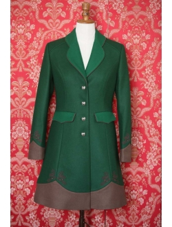 Vlněný kabát - Zelená, zelená, hnědá