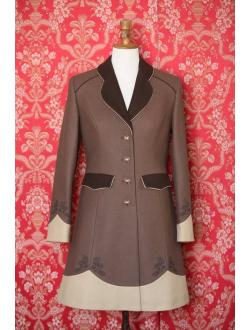 Vlněný kabát - Hnědá, cappuccino, hnědá