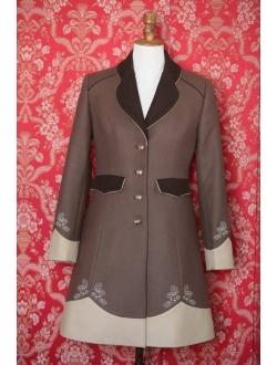 Vlněný kabát - Hnědá, 2x cappuccino