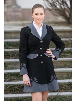 Vlněný kabát - Černá, šedá, šedá